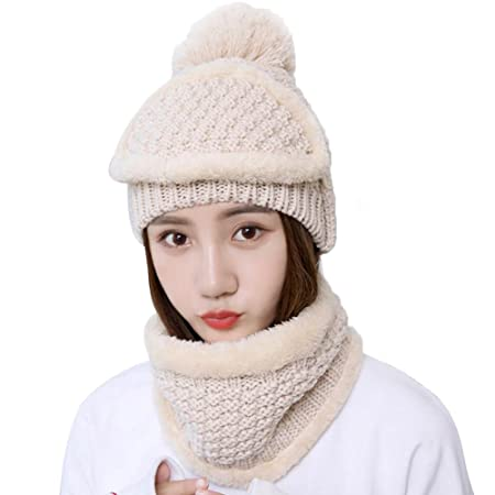 5ff93605904 BIGBOBA Winter Warm Knit Outdoors Beanie Hat Scarf Mask Sets Thicken  Stretchy Full Face Cover Mask