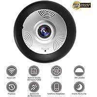 SEEDARY HD 1080P IP Wifi Cámara de Seguridad, Cámara de Vigilancia Panorámica de 360 grados, con Micrófono y Altavoz IR Visión Nocturna, Detección de Movimiento, Seguridad para Bebé y Mascotas, Compatible con iOS, Android