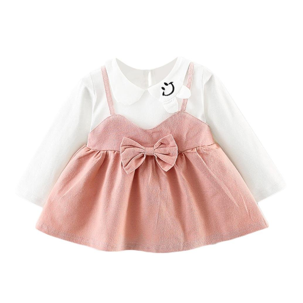 WARMSHOP 2018 Spring Autumn Latest Clothes Girls Long Sleeve Solid Bowknot Turndown Collar Straps Princess Dress