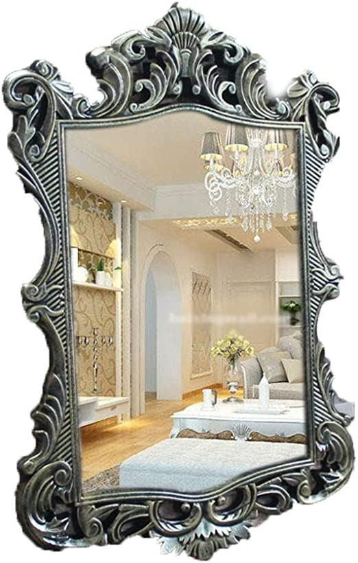 Amazon Com Selm Vintage Mirrors Wall Hanging Rectangle Pu Material Anti Fog Function For Bedroom Bathroom And Living Room Color Gold1 Home Kitchen