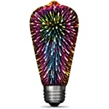 "FEIT Electric ST19/PRISM/LED Infinity 3D Fireworks Effect ST19 LED Light Bulb, 5.4"" H x2.5 D, Multicolor"