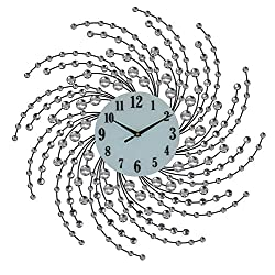 Elegant Bejeweled Silver Spirals Round Wall Clock with Crystal Accents 24