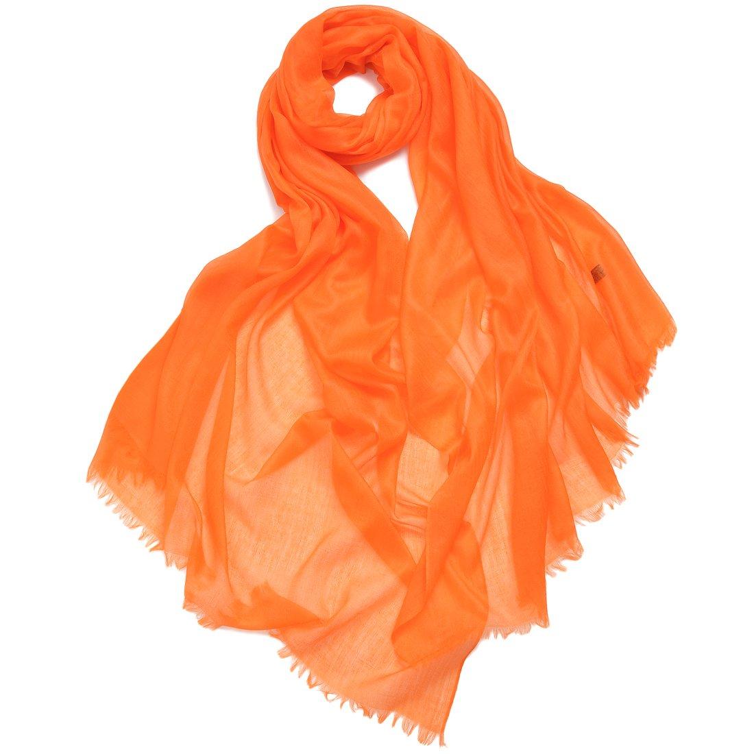 ZORJAR Pure Cashmere Scarf Women Ultra Thin Pashmina Shawls and Wraps 39''x94''(Orange)
