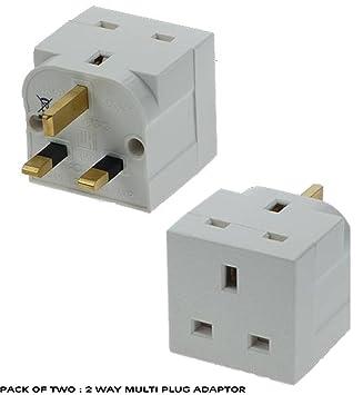 Double Pack of UK Two Way Electrical Plug Adaptor: Amazon.co.uk ...
