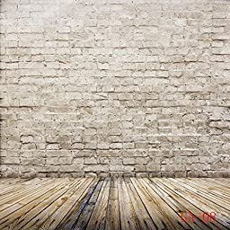Ouyida Brick Wall Wood floor Pictorial cloth Customized photography Backdrop Background studio prop 10x10FT GA08A