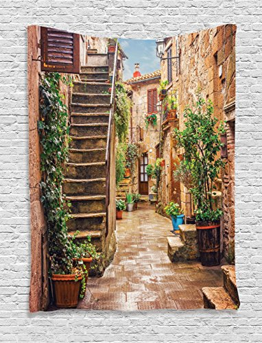 Ambesonne Tuscan Decor Tapestry, View of an Old Mediterranean Street with Stone Rock Houses in Italian City Rural Culture Print, Bedroom Living Room Dorm Decor, 40 W x 60 L Inches, Multi