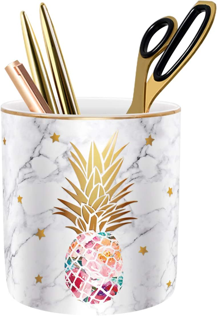 WAVEYU Pen Holder, Pencil Holder for Desk, Cute Makeup Brush Holder Marble Pineapple Pattern Pencil Cup for Girls Kids Durable Ceramic Desk Organizer Ideal Gift for Office, Classroom, Pineapple