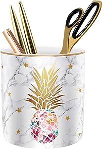 WAVEYU Pen Holder, Pencil Holder for Desk, Cute Makeup Brush Holder Marble Pineapple Pattern Pencil Cup for Girls Kids Durable Ceramic Desk Organizer Ideal Gift for Office, Classroom, Pineapple
