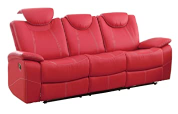 Amazon.com: Tagnon Double Reclining Sofa in Red Leather ...