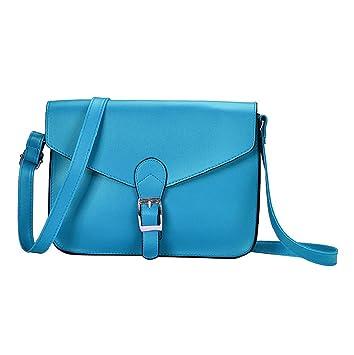 37d880f29 Sannysis® Imitación de Las Mujeres del Bolso de Cuero del Hombro (Azul):  Amazon.es: Deportes y aire libre
