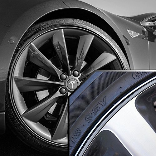 Upgrade Your Auto Tesla S Wheel Bands Silver in Black Pinstripe Edge Trim for 13-22' Rims