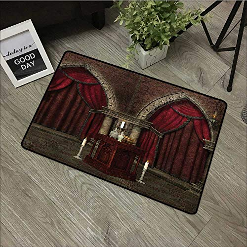 Corridor Door mat W24 x L35 INCH Gothic,Mysterious Dark Room in Castle Ancient Pillars Candles Spiritual Atmosphere Pattern,Red Black with Non-Slip Backing Door Mat Carpet ()