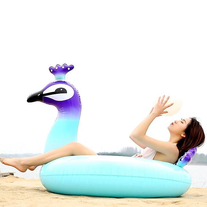 FJROnline Flotadores hinchables para piscina, gigantes de pavo real, anillo de natación para playa, cama, verano, natación, cama flotante, reclinación de ...