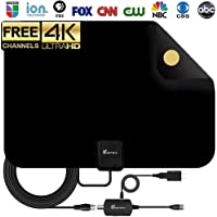 [2018 Upgraded] HDTV Antenna - Digital Amplified HD TV Antenna 60-80 Mile Range 4K HD VHF UHF Freeview Television Local Channels w/Detachable Signal Amplifier and 16.5ft Longer Coax Cable