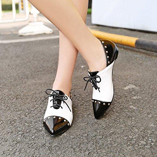 Show Shine Rivets Chic Pour Femmes Couleurs Assorties Bout Pointu Chaussures Noir