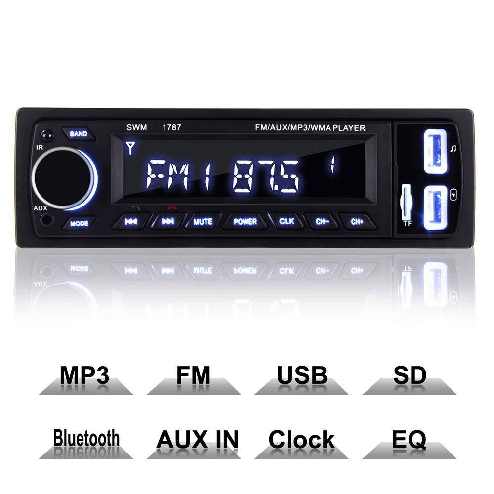 COOAU Autoradio Bluetooth, FM Radio de Coche Manos Libres Radio Estéreo de Coche, Llamadas