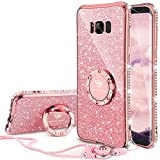 samsung phone cases for girls - Galaxy S8 Plus Case, Glitter Cute Phone Case Girls with Kickstand, Bling Diamond Rhinestone Bumper Ring Stand Sparkly Luxury Soft Protective Samsung Galaxy S8 Plus Case for Girl Women - Rose Gold