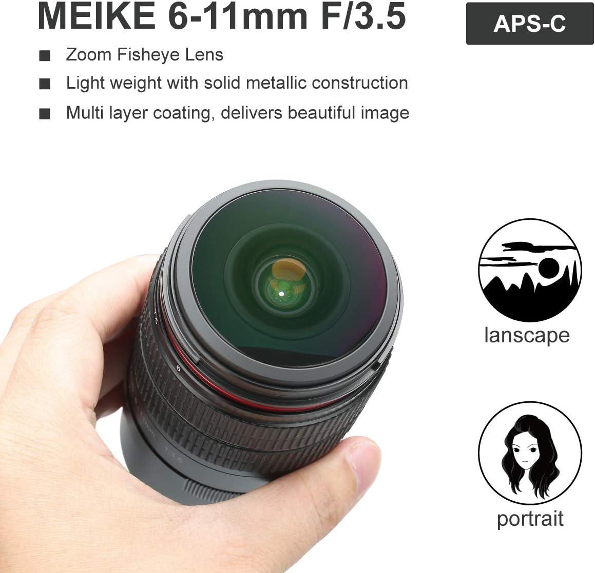 Meike MK avec Objectif fisheye 6-11mm f3.5 Format de capteur APS-C pour Canon EF
