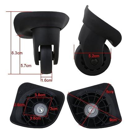 Glvanc Negro, 8,3 x 9 x 5.2 cm izquierda & derecho plástico rueda