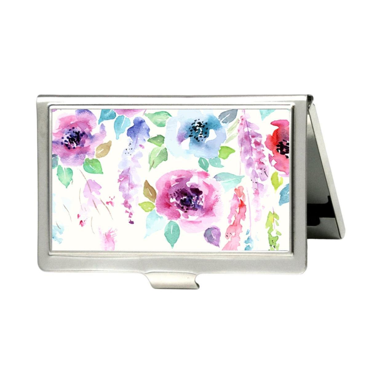 udoosun Floral BouquetカスタムPersonlizedステンレススチールポケットビジネス名クレジットIDカードケースボックス財布 B074XPJ76H