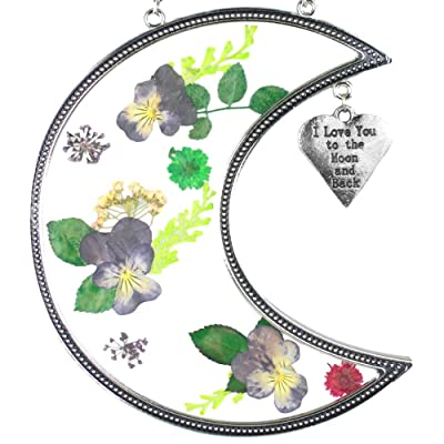 BANBERRY DESIGNS I Love You to The Moon and Back Suncatcher with Real Pressed Flowers in Glass and Silver Metal Heart Shaped Engraved Charm - Gift for a Loved One Wife Girlfriend Fiance : Garden & Outdoor