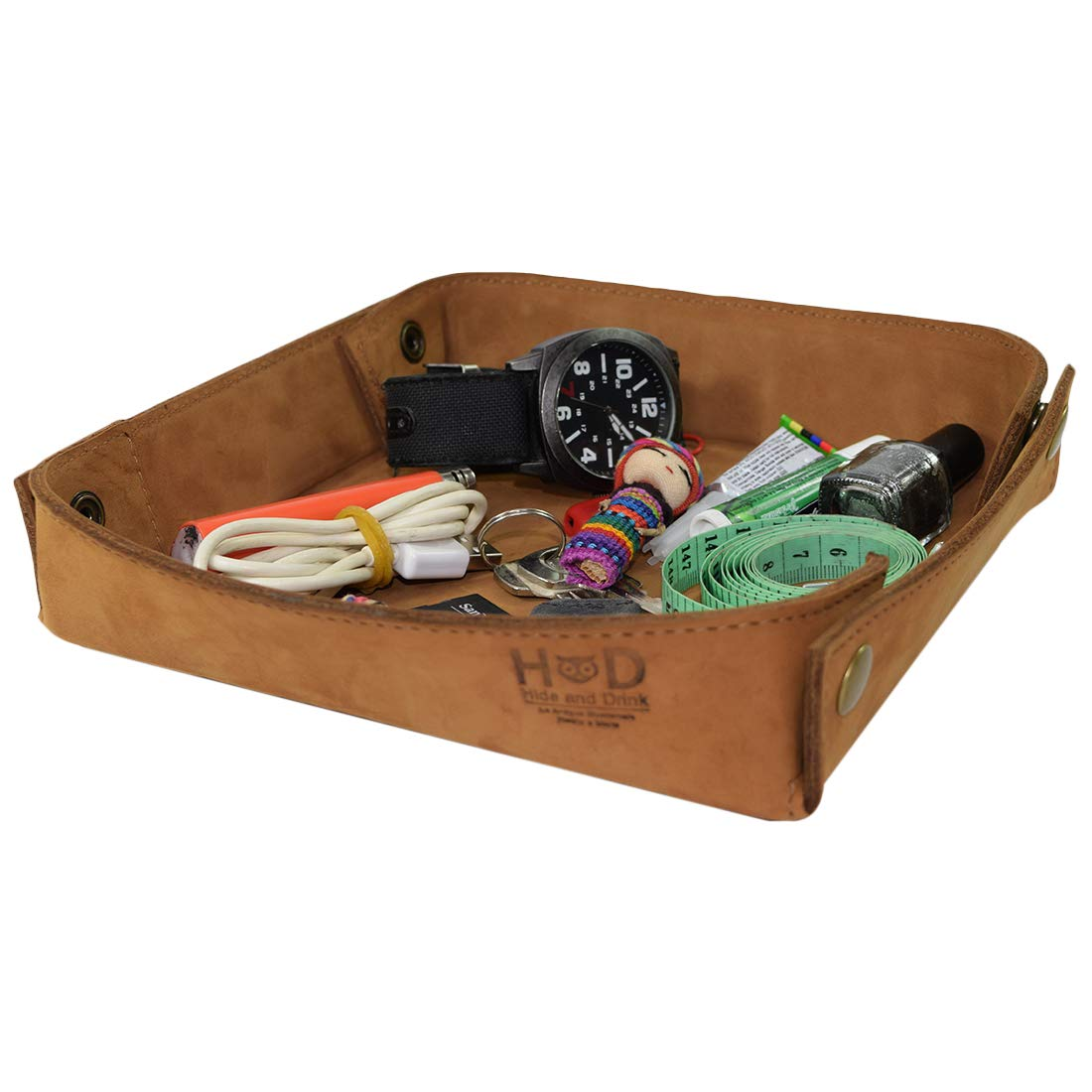 Hide & Drink, Leather Catchall Change Keys Coins Jewels Box Tray Big Storage Handmade Includes 101 Year Warranty :: Toffee Suede
