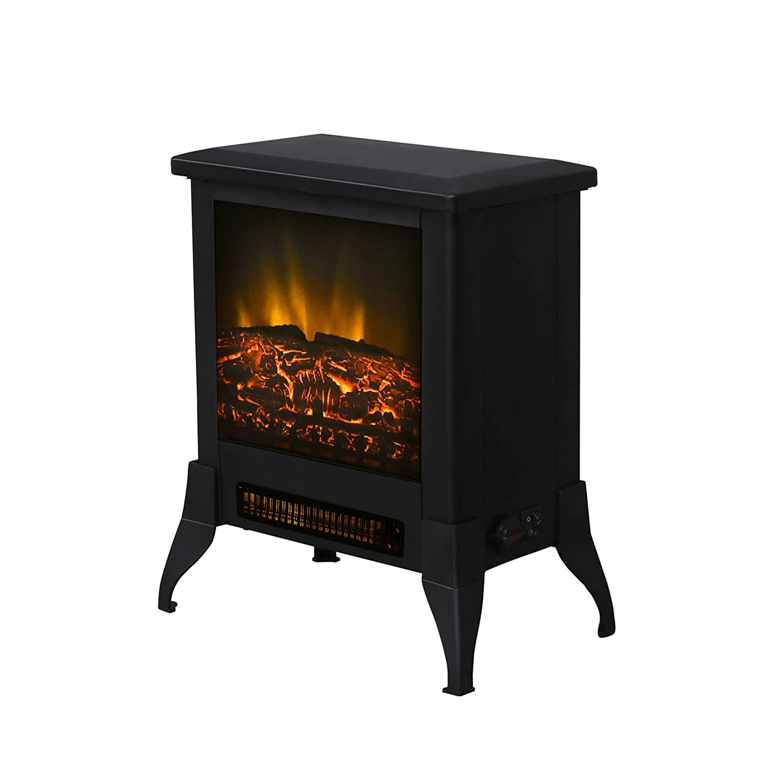 VACA KEY 14 1400W Free Standing Electric Fireplace Flame Stove Portable Space Heater FireBox hermostat Control Office Home Residential Apartment Use Steel Better Wood Overheat Protect, 14 inch