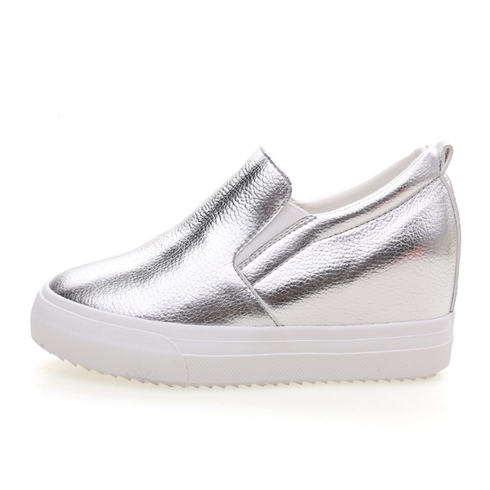 Versión coreana flujos aumento establece pie calzado en primavera/Zapatos de mujer/ zapatos de suela gruesa plataforma/Zapatos de hombre Lok Fu perezosos-D Longitud del pie=22.3CM(8.8Inch) 2VrIwQ69L