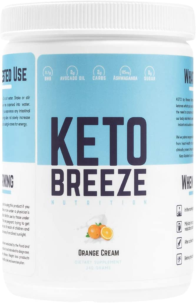 Keto Breeze Exogenous Ketones BHB Salts Ashwaghanda Avocado Oil Ketogenic Weight Loss Increase Energy Focus – 15 Servings