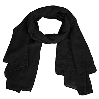 EVRYLON - Pañuelo para mujer liso pashmina mujer verano color negro ancho 175 x 45 cm algodón acetato: Ropa y accesorios