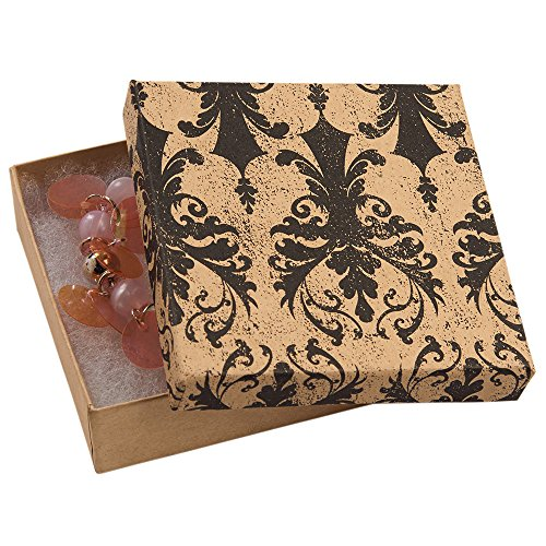 3 ½ x 3 ½ x 1 inch Cotton Filled Distressed Damask Jewelry Boxes - 100 Pack - Damask Jewelry