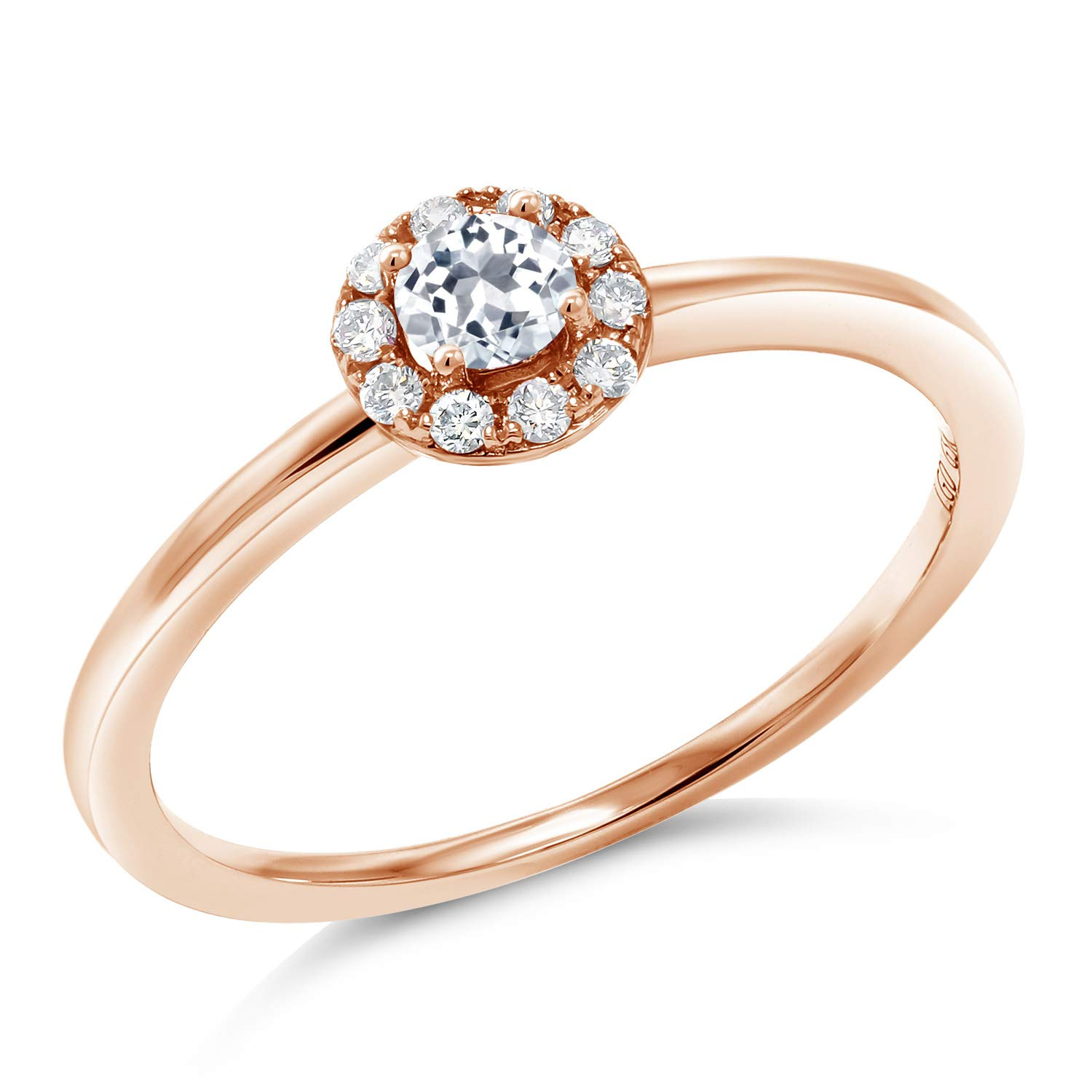 Gem Stone King 10K Rose Gold White Topaz and Lab Grown Diamond Women's Engagement Ring (0.27 Ct Round, G-H Color, Available in size 5, 6, 7, 8, 9) by Gem Stone King