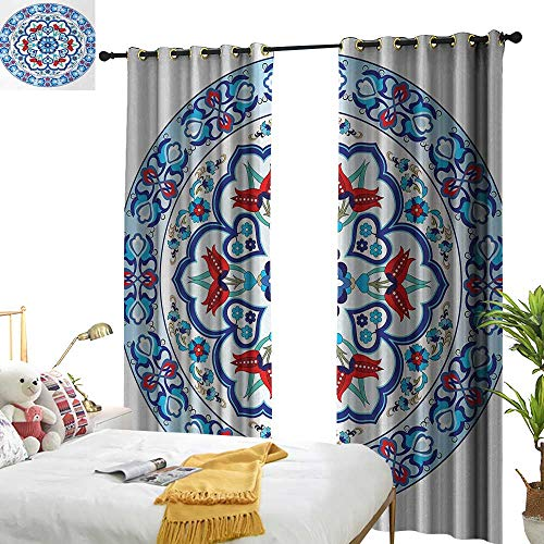 Anyangeight Antique,Decorative Curtains for Living Room,Ottoman Turkish Style Art with Tulip Period Ceramic Floral Elements European Print,W72 xL84,Suitable for Bedroom Living Room Study, etc. ()