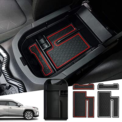 Powerty Center Console Organizer Storage Box Accessories for Toyota RAV4 (5th Gen.) XA50 2020 2020 2021 with 2 Color Mat: Automotive