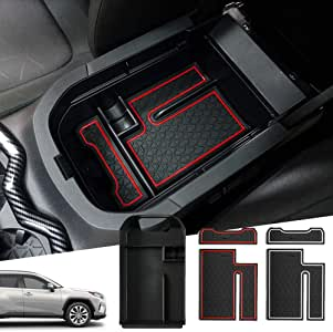 Powerty Center Console Organizer Storage Box Accessories for Toyota RAV4 2019 2020 with 2 Color Mat