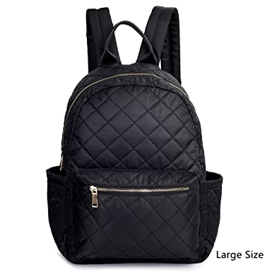 Amazon.com | Women Backpack Black Nylon Daypack Purse Quilted ... : quilted rucksack - Adamdwight.com