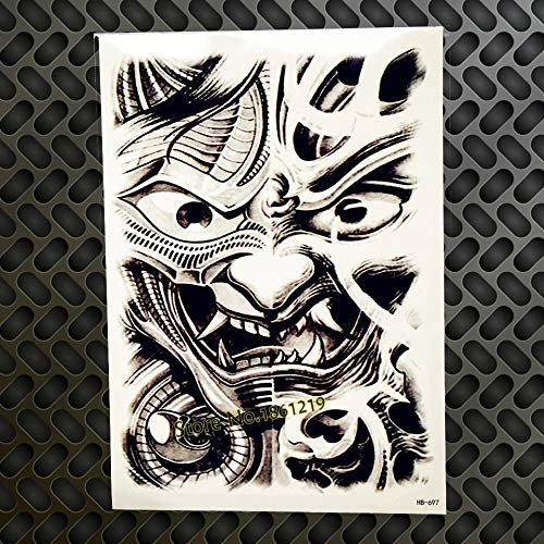 Ancient Japanese samurai mask tribal TEMPORARY TATTOO scar cover up stretch mark cover up mythical Dragon skull samurai smoke snake katana zen samurai warrior FAKE TATTOO cover up conceal body make up