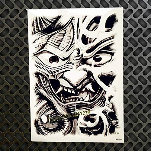 (Ancient Japanese samurai mask tribal TEMPORARY TATTOO scar cover up stretch mark cover up mythical Dragon skull samurai smoke snake katana zen samurai warrior FAKE TATTOO cover up conceal body make up )