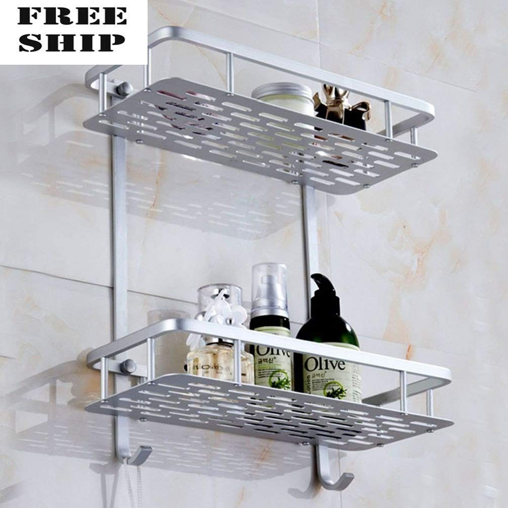 Aluminum Wall Mounted Dual 2 Tier Bathroom Shower Bath Shelf Rack Holder Caddy by General