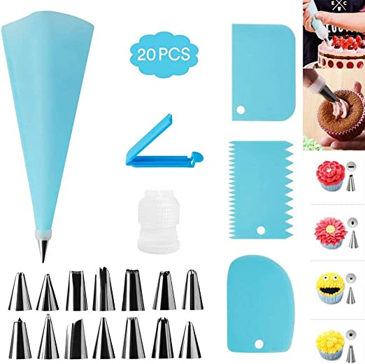 20 Pcs Cake Baking Decorating Kit Set Piping Tips Pastry Icing Bag Nozzles Tool