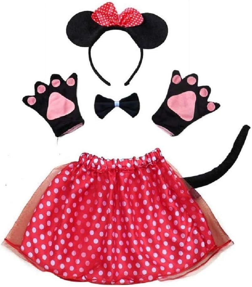 EVRYLON Disfraz de lotería Minnie Mouse para niña Diadema tutú ...