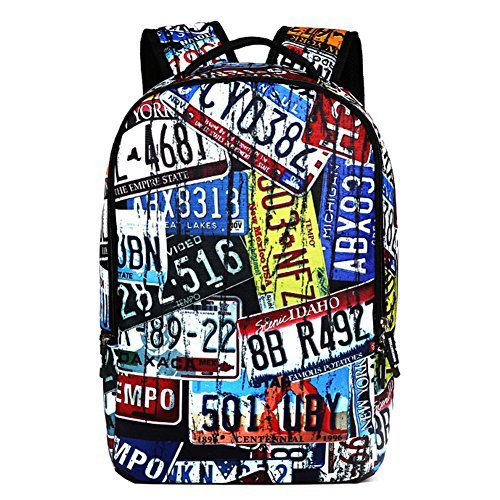 AIZHE Kids Book Backpacks Childrens Schoolbag Teenager 3D Cartoon School Bookbag And Colorful Travel Daypack(License Plate)