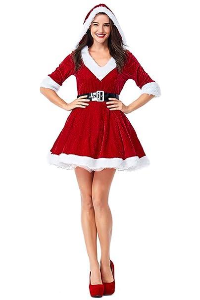 Amazon.com: Womens Sexy Mrs. Santa Claus Costume Hooded ...
