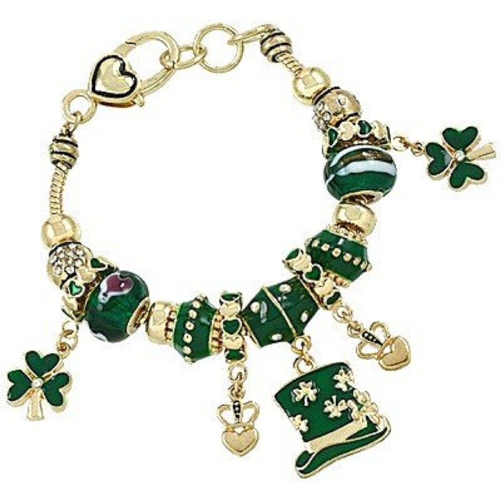 CFG ONLINE Gold Tone ST.Patrick theme with Murano Style Glass Beads Charm Bracelet Standard 7.5 inches.