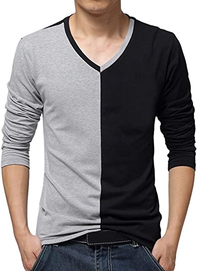 Forthery Mens Henley T-Shirts Casual Patchwork Slim Fit V Neck Muscle Tops