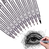 Set of 10 Black Micro-Pen Fineliner Ink Pens, Waterproof Archival ink Fine Point Micro-Liner Pens, Multiliner, Sketching, Anime, Artist Illustration, Technical Drawing, Office Documents, Scrapbooking