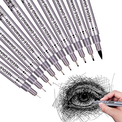 Precision Micro-Line Pens, Fineliner, Multiliner, Waterproof Archival Ink Fine Point Micro Pen, Artist Illustration, Anime, Sketching, Technical Drawing, Office Documents&Scrapbooking, 10/Set(Black) ()