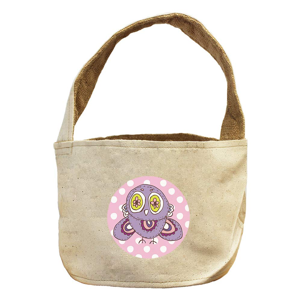 Owl Purple in Pink Circle Animals Canvas and Burlap Storage Basket by Style in Print