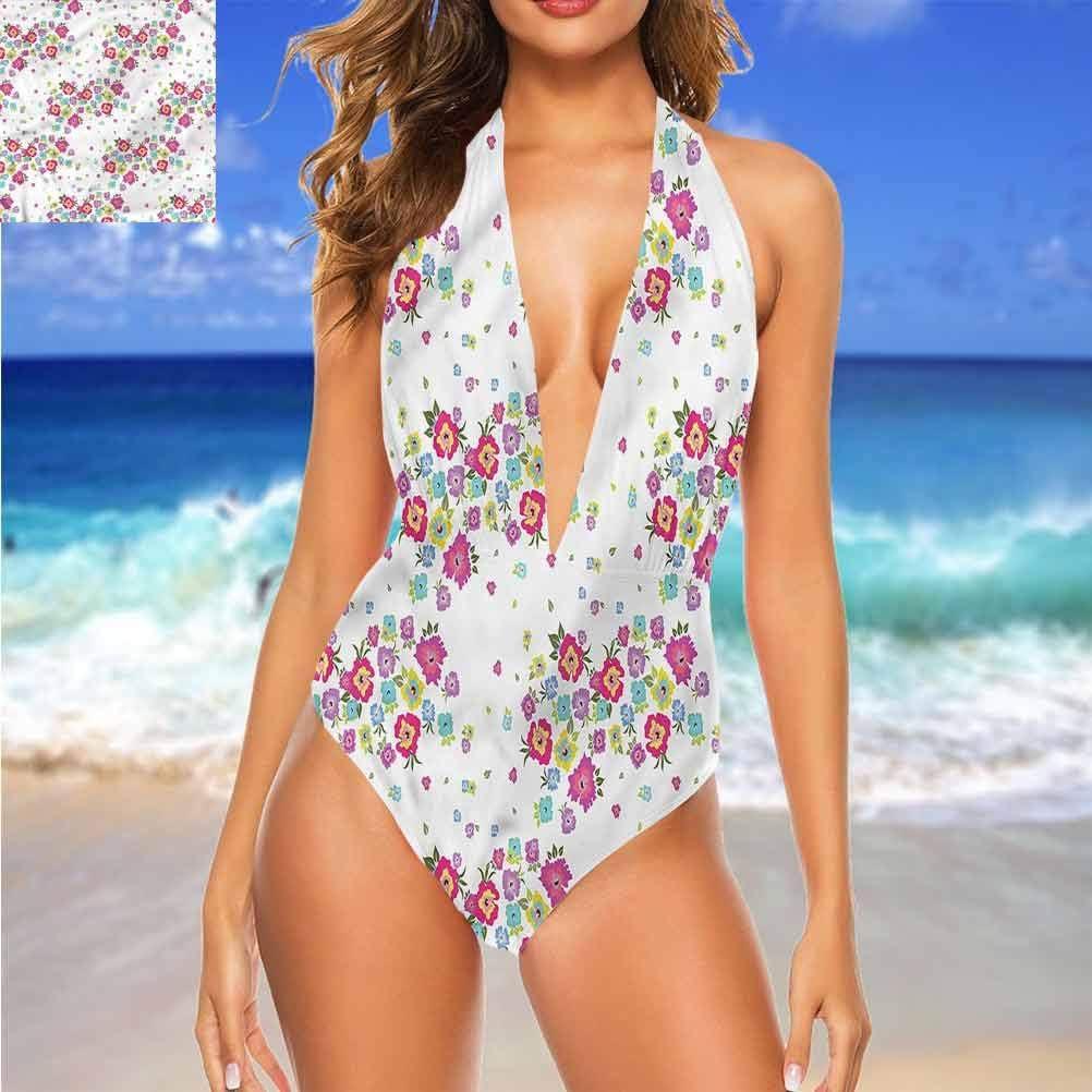 Adorise Ensemble de bikini confortable floral, coloré fleur pétale de croissance très mignon et à lanières Multi 20
