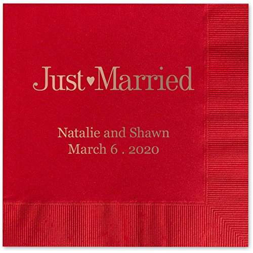 Just Married Personalized Luncheon Dinner Napkins - Canopy Street - 100 Custom Printed Red Paper Napkins with choice of foil stamp -